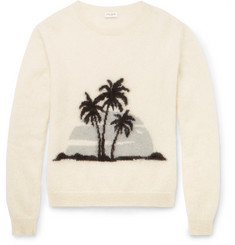 Saint Laurent Palm Tree-Intarsia Mohair-Blend Sweater