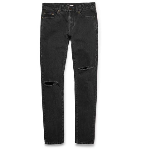 Skinny-fit 15cm Hem Distressed Stonewashed Denim Jeans Saint Laurent tFZVM0