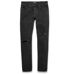 Saint Laurent Skinny-Fit 15cm Hem Distressed Stonewashed Denim Jeans