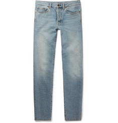 Saint Laurent Slim-Fit 17cm Hem Embroidered Denim Jeans