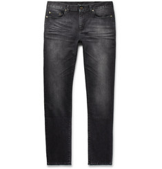 Saint Laurent Skinny-Fit 15cm Hem Acid-Washed Stretch-Denim Jeans