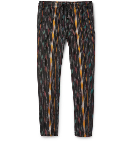 Saint Laurent  TAPERED STRIPED COTTON AND SILK-BLEND TROUSERS - RED