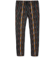 Saint Laurent Tapered Striped Cotton and Silk-Blend Trousers