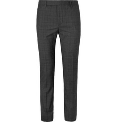 Saint Laurent Dark-Grey Slim-Fit Checked Virgin Wool-Blend Suit Trousers