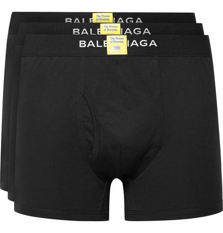 Three Pack Cotton Boxer Briefs by Balenciaga