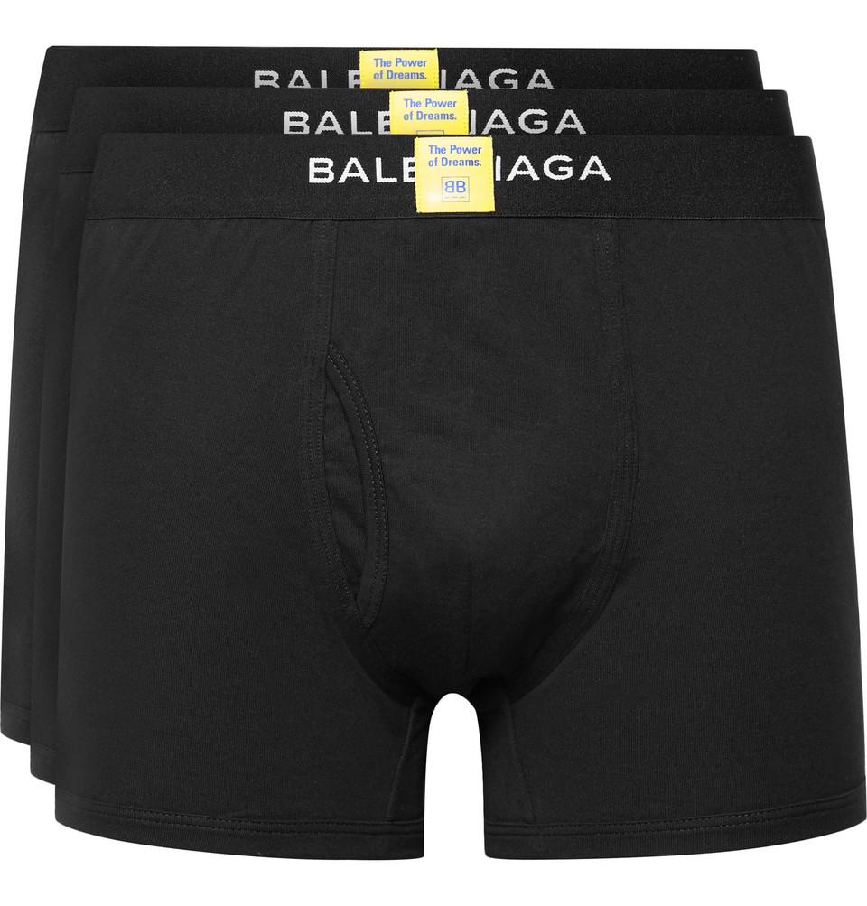 Three-pack Cotton Boxer Briefs - Black