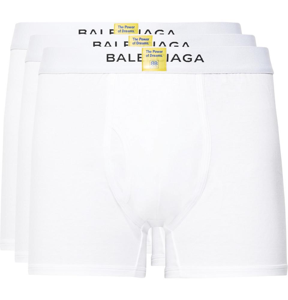 Three-pack Cotton Boxer Briefs - White