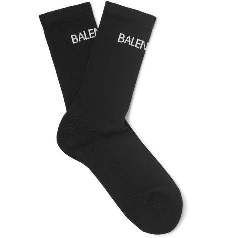 Intarsia Stretch Cotton-blend Socks - Black