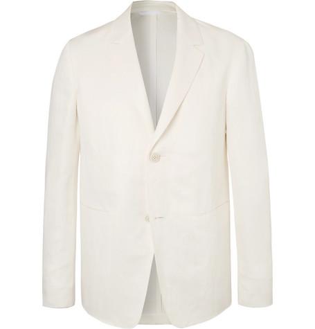 Ecru Unstructured Slub Linen And Mulberry Silk Blend Blazer by Berluti