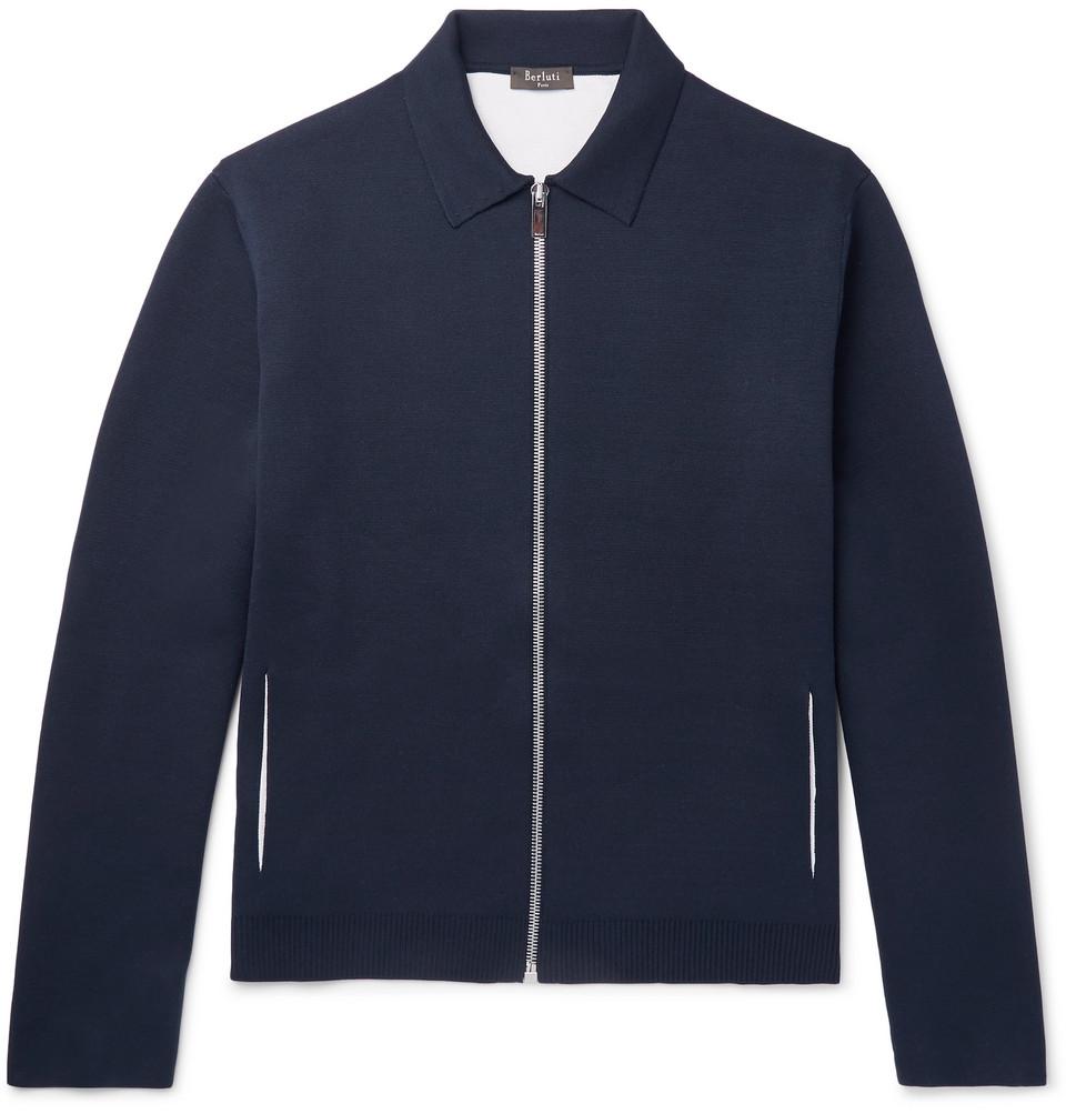 Mulberry Silk-blend Blouson Jacket - Navy
