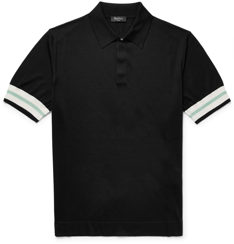 Stripe-trimmed Knitted Silk Polo Shirt - Black