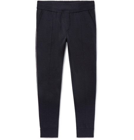Slim Fit Tapered Piped Mulberry Silk Blend Jersey Sweatpants by Berluti