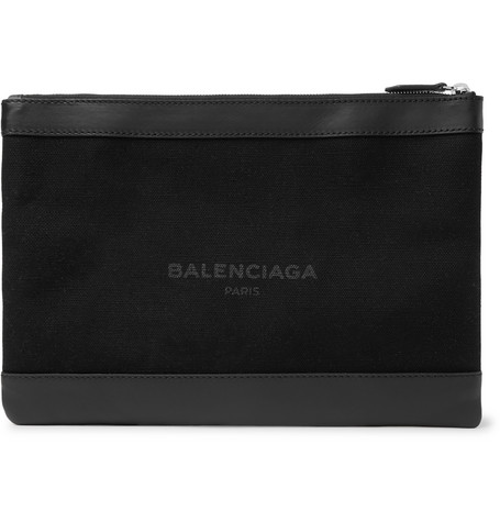 Leather Trimmed Printed Canvas Pouch by Balenciaga