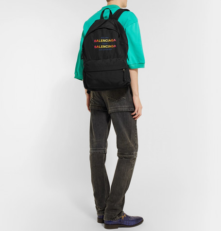 Explorer Logo Embroidered Canvas Backpack by Balenciaga