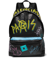 Balenciaga Arena Graffiti-Printed Creased-Leather Backpack