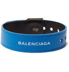 Balenciaga Logo-Print Leather Bracelet