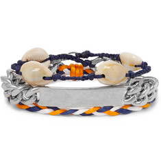 Balenciaga Shell, Braided Cord and Silver-Tone Wrap Bracelet