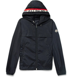 Moncler Gradignan Stripe-Trimmed Shell Hooded Jacket