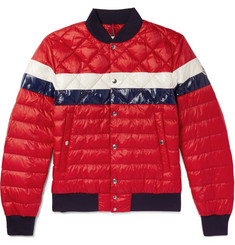 Moncler Itiner Striped Quilted Shell Down Bomber Jacket