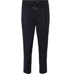 Moncler Tapered Grosgrain-Trimmed Stretch-Cotton Gabardine Drawstring Trousers