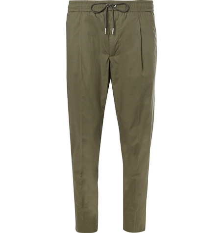Cropped Tapered Stretch-cotton Poplin Drawstring Trousers Moncler
