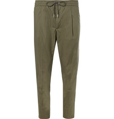 Moncler Cropped Tapered Stretch-Cotton Poplin Drawstring Trousers