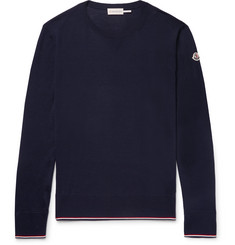 Moncler Slim-Fit Stripe-Trimmed Virgin Wool Sweater