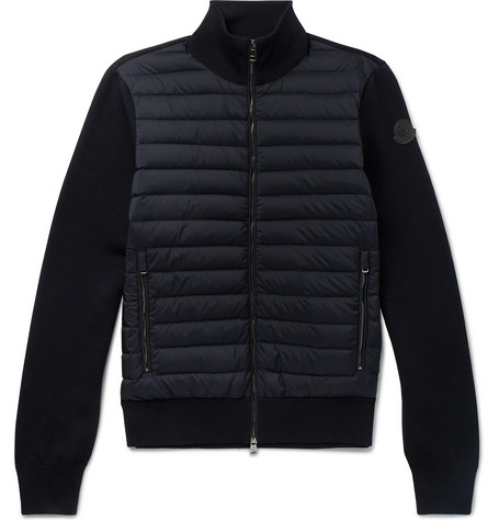 Slim Fit Cotton Blend And Quilted Shell Down Zip Up Sweater by Moncler