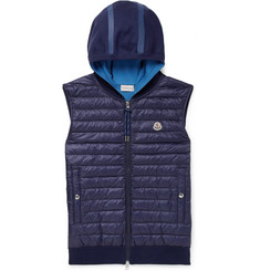 Moncler Quilted Shell Down and Cotton-Blend Hooded Gilet
