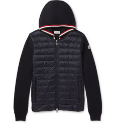 Moncler - Cotton and Quilted Shell Down Zip-Up Hoodie