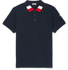 Moncler Slim-Fit Stripe-Trimmed Cotton-Piqué Polo Shirt