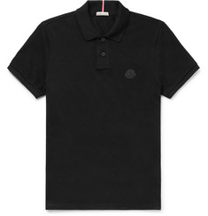Moncler Slim-Fit Grosgrain-Trimmed Cotton-Piqué Polo Shirt