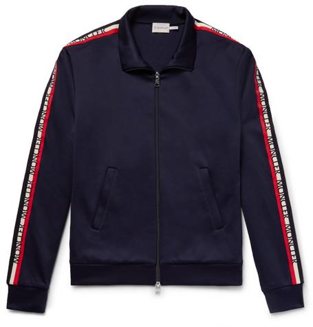 Slim Fit Grosgrain Trimmed Nylon And Cotton Blend Track Jacket by Moncler