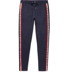 Moncler Slim-Fit Tapered Grosgrain-Trimmed Jersey Sweatpants