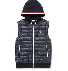 Moncler - Slim-Fit Quilted Shell and Loopback Cotton-Jersey Hooded Gilet