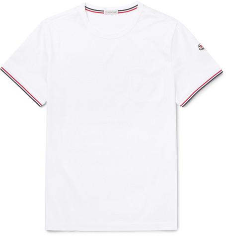 Modesens Jersey Cotton White Trimmed T Stripe Moncler Shirt In x8BtTTqw