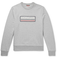 Moncler Embroidered Mélange Loopback Cotton-Jersey Sweatshirt