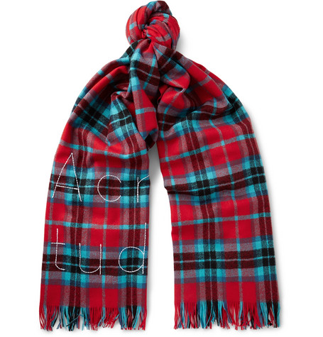 Ontario Fringed Embroidered Checked Wool Scarf Acne Studios WT8PDTSgD