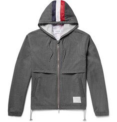 Thom Browne Mesh-Striped Wool Hooded Jacket