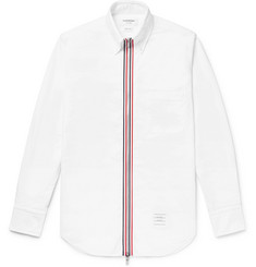 Thom Browne Grosgrain-Trimmed Cotton Oxford Zip-Up Shirt