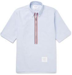 Thom Browne Button-Down Collar Cotton Oxford Half-Zip Shirt