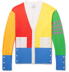 Thom Browne Fun Mix Slim-Fit Colour-Block Striped Cashmere Cardigan