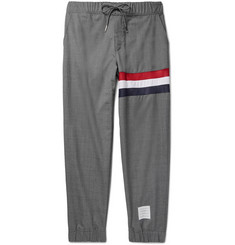 Thom Browne Slim-Fit Mesh and Shell-Panelled Wool Drawstring Trousers