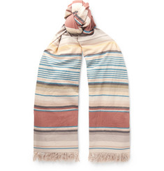 Loewe - Striped Fringed Cotton Scarf
