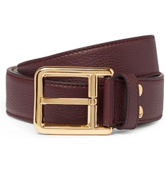 Loewe 3cm Burgundy Full-Grain Leather Belt