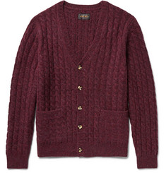 Beams Plus Cable-Knit Mélange Wool Cardigan