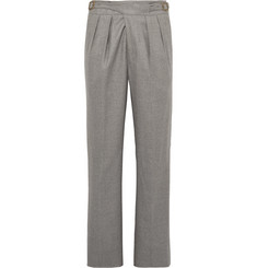 Rubinacci Manny Tapered Pleated Wool-Flannel Trousers