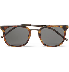 Bottega Veneta D-Frame Tortoiseshell Acetate and Gunmetal-Tone Sunglasses