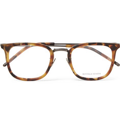 Bottega Veneta D-Frame Tortoiseshell Acetate and Gunmetal-Tone Optical Glasses