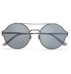 Bottega Veneta Round-Frame Engraved Silver-Tone Mirrored Sunglasses
